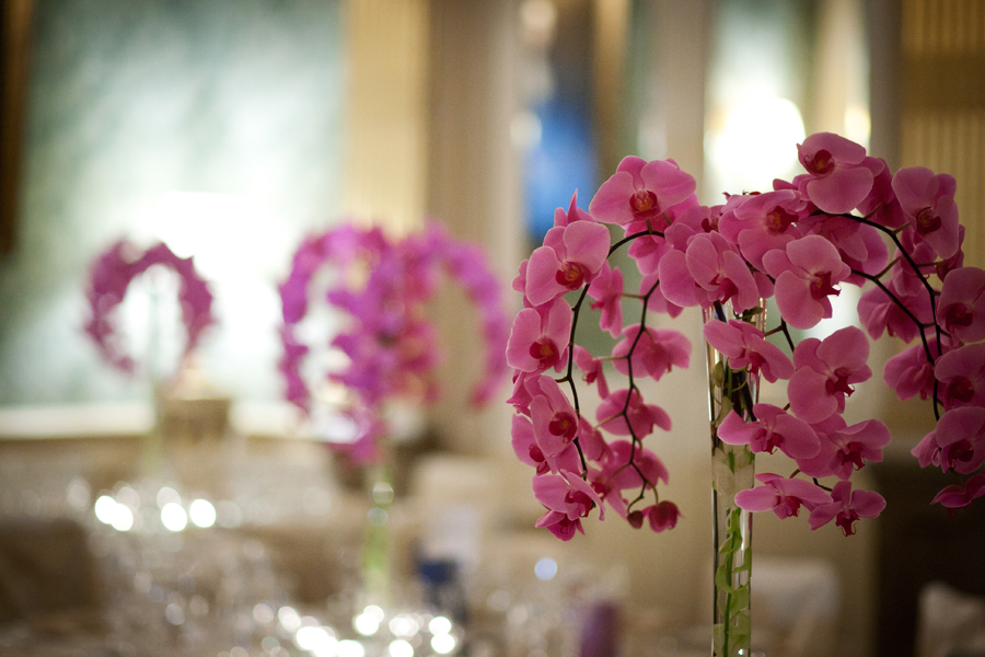 Orchid Table Centres at Claridges