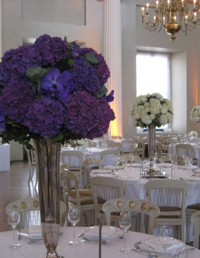 Tall Silver Trumpet Vase Table Centres