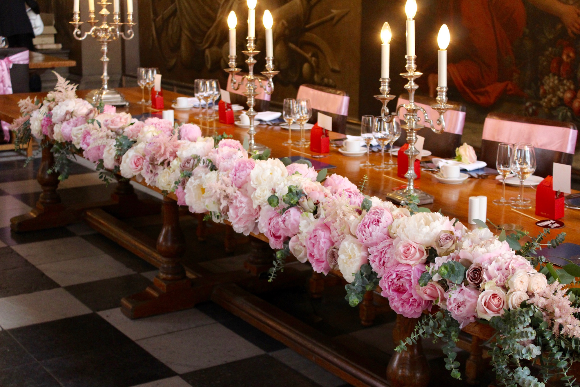Top Table Display at The Painted Hall, Old Royal Naval College, Greenwich