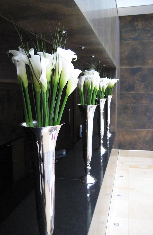 Calla Lilys in Silver Trumpet Vases
