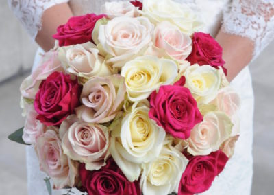 Pink and White Rose Dome Bouquet