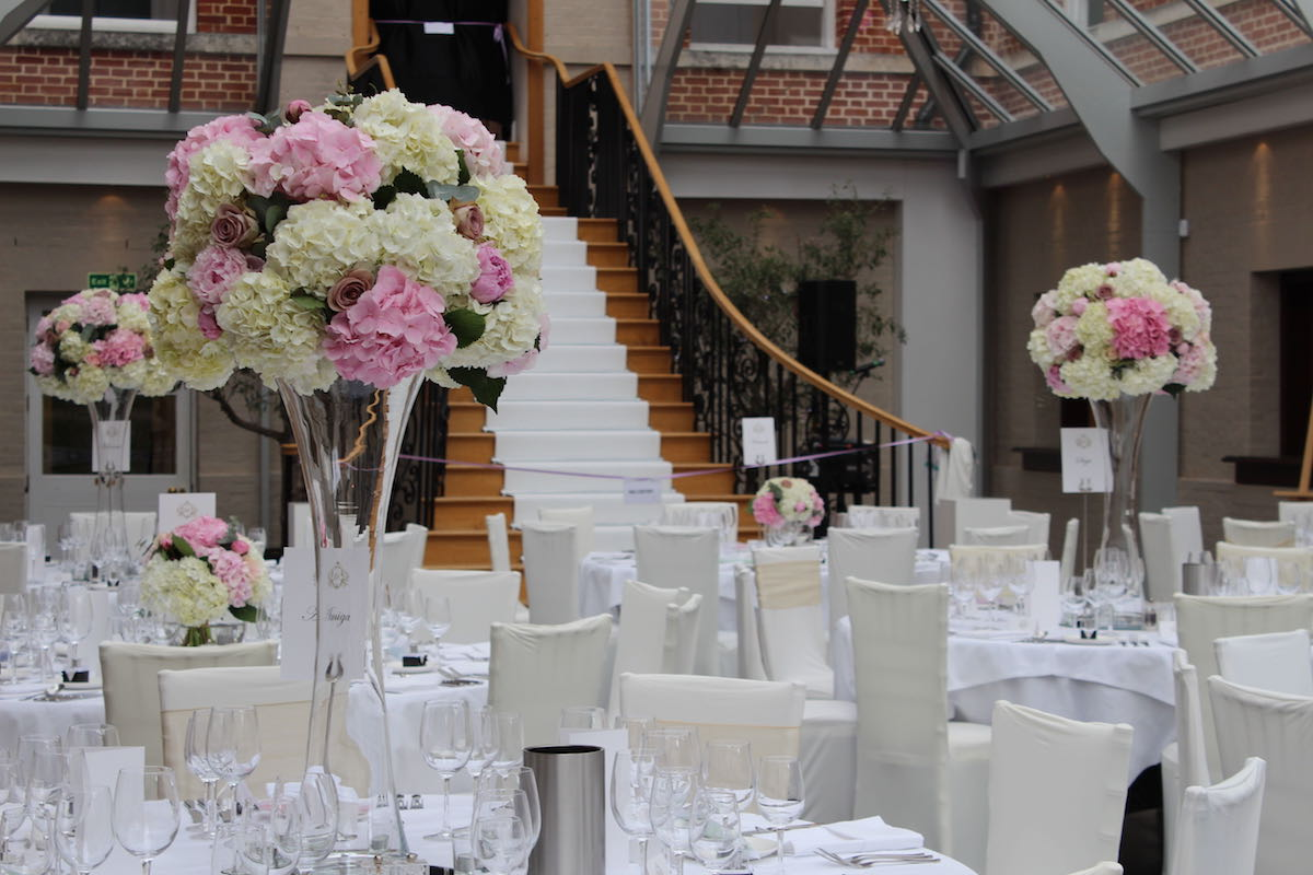 Botleys Mansion Tall Table Centre Wedding Flowers