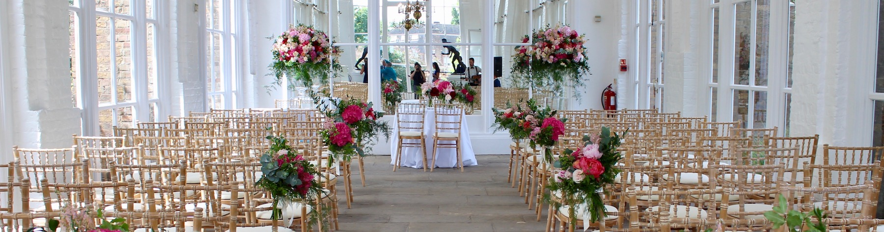 The Orangery Ceremony Wedding Flowers – Version 3