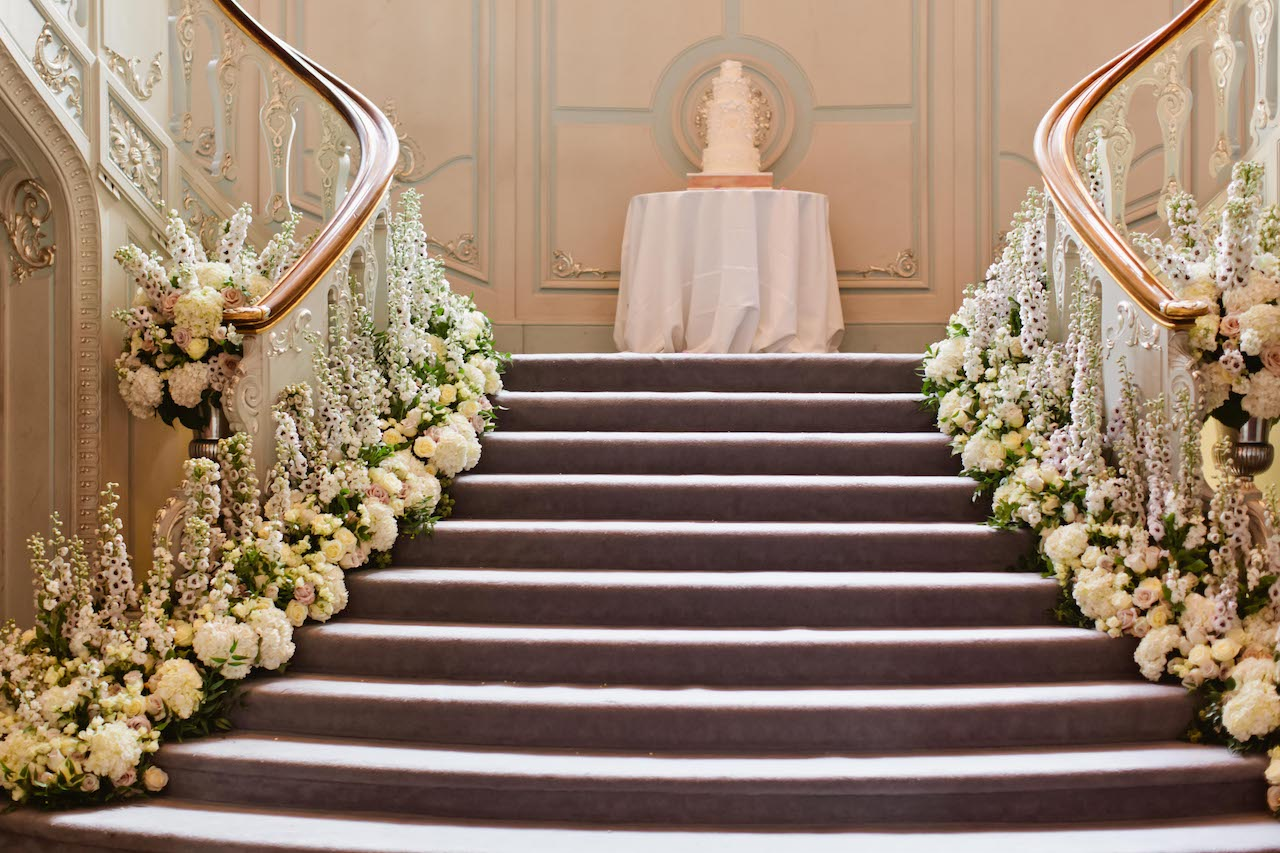 Ballroom Staircase Wedding Flower Display