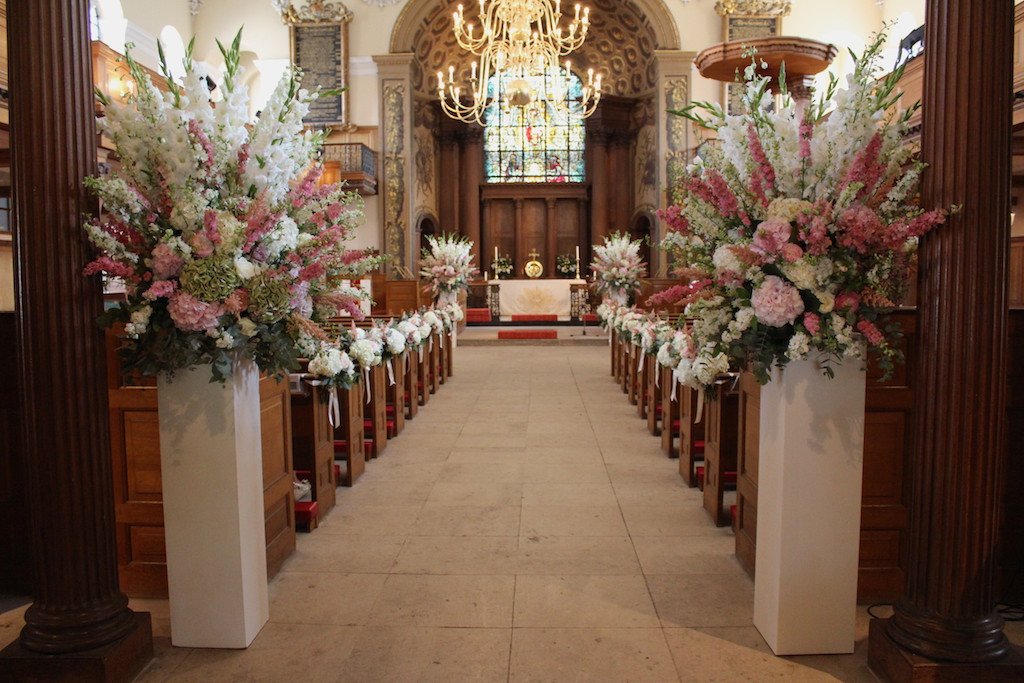 Wedding Ceremony Flowers at St Alfege Church, Greenwich