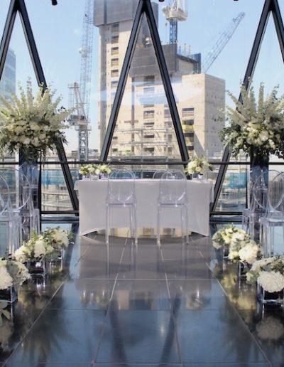 Gherkin Wedding Ceremony Flowers