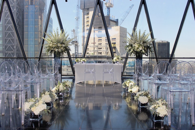 Gherkin Wedding Ceremony Flowers