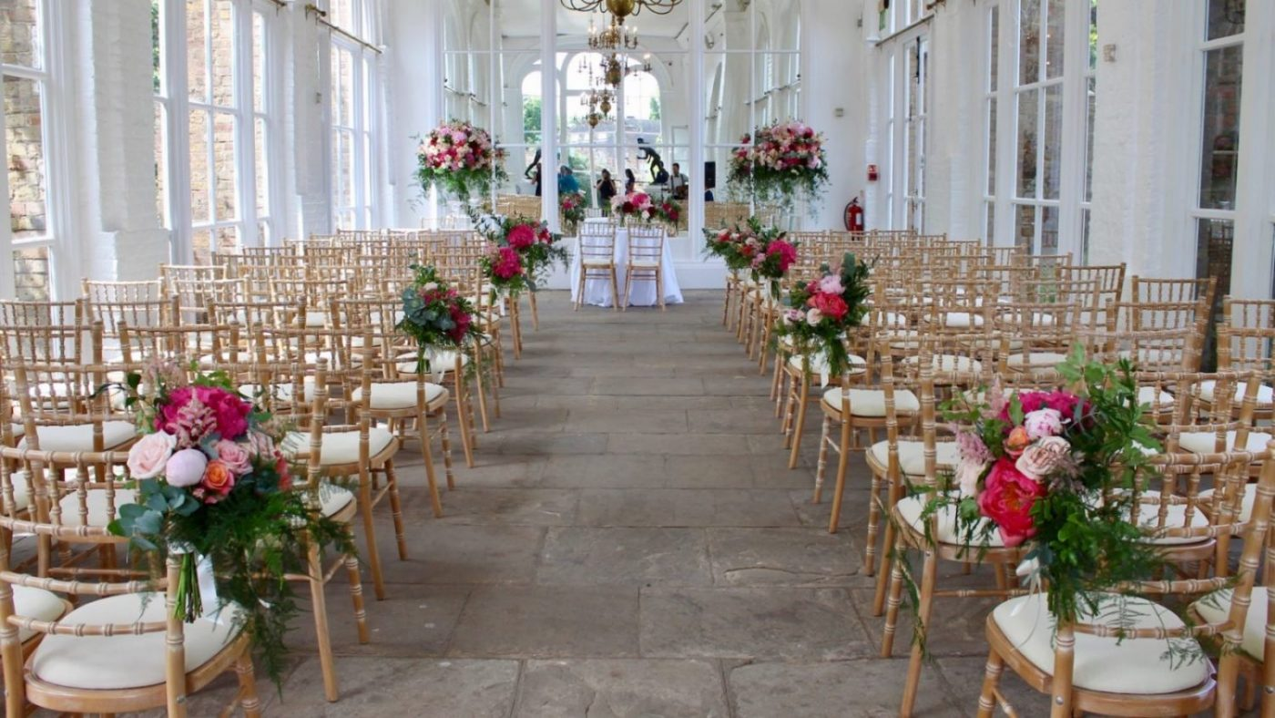 The Orangery Wedding Ceremony Flowers