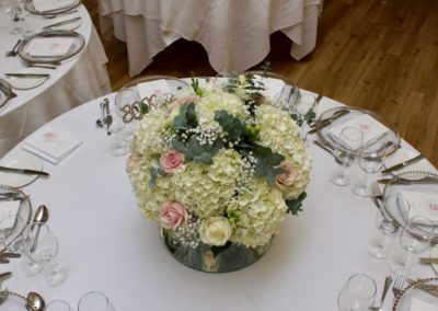 Wedding Reception Table Centre Flowers at Pembroke Lodge