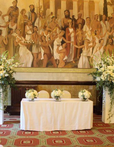 Wedding Flower Pedestals at One Whitehall Place
