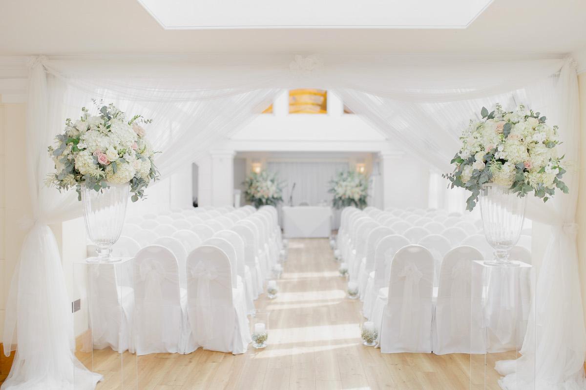 Laura & Paul's Wedding Reception Flowers at Pembroke Lodge, Richmond