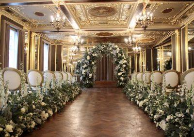 Hotel Café Royal Wedding Flower Arch and Aisle