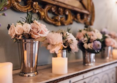 Dartmouth House Mantelpiece Wedding Flowers