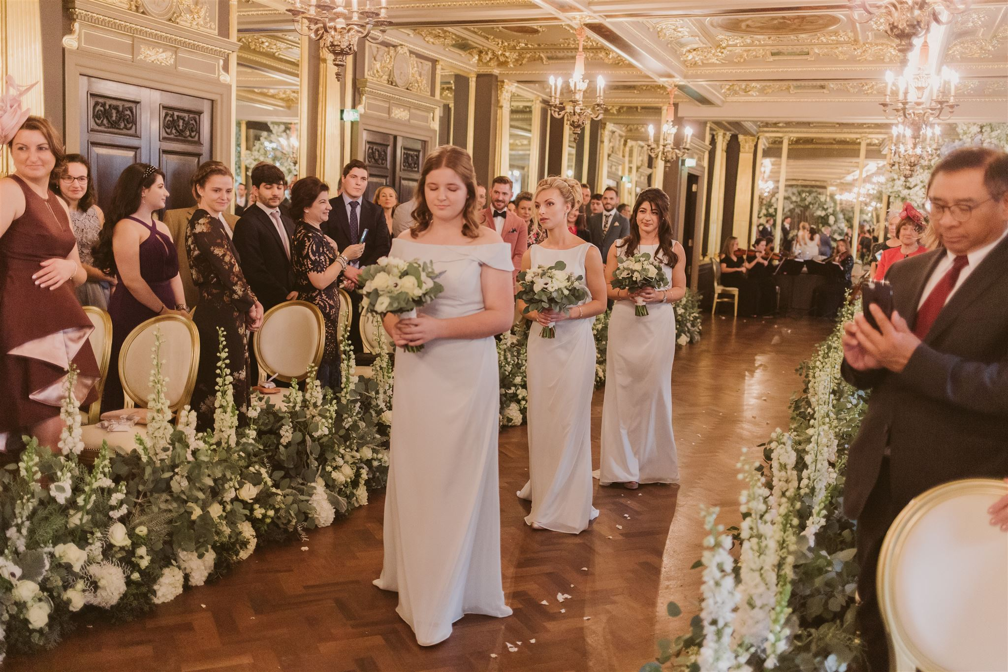 Bridesmaids bouquets at Cafe Royal, London