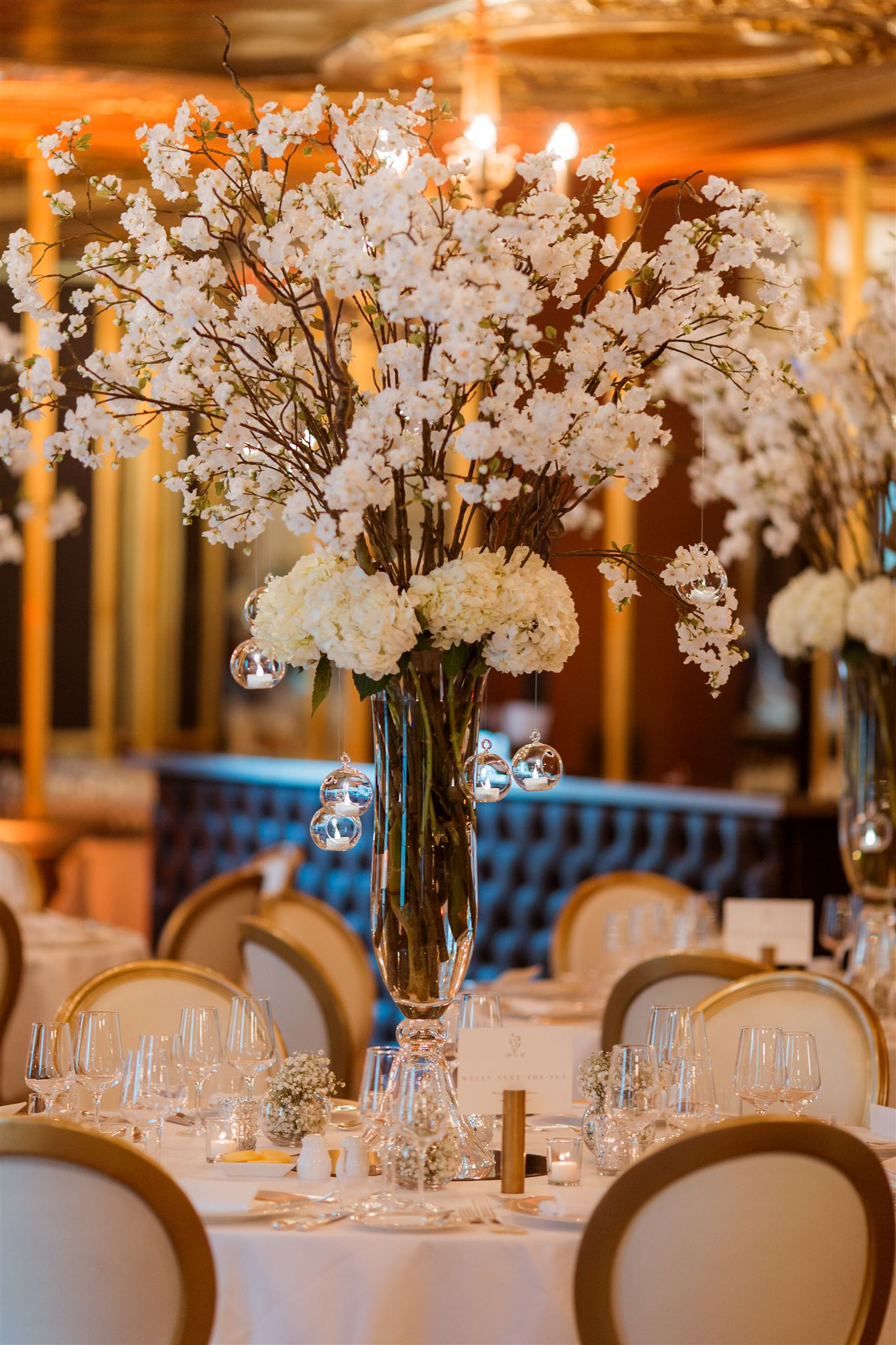 Blossom table centres by Rachel Morgan Wedding Flowers