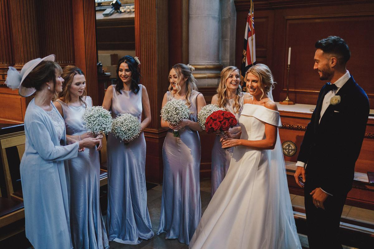 Bridal flowers at St Bride's Church by Rachel Morgan Wedding Flowers