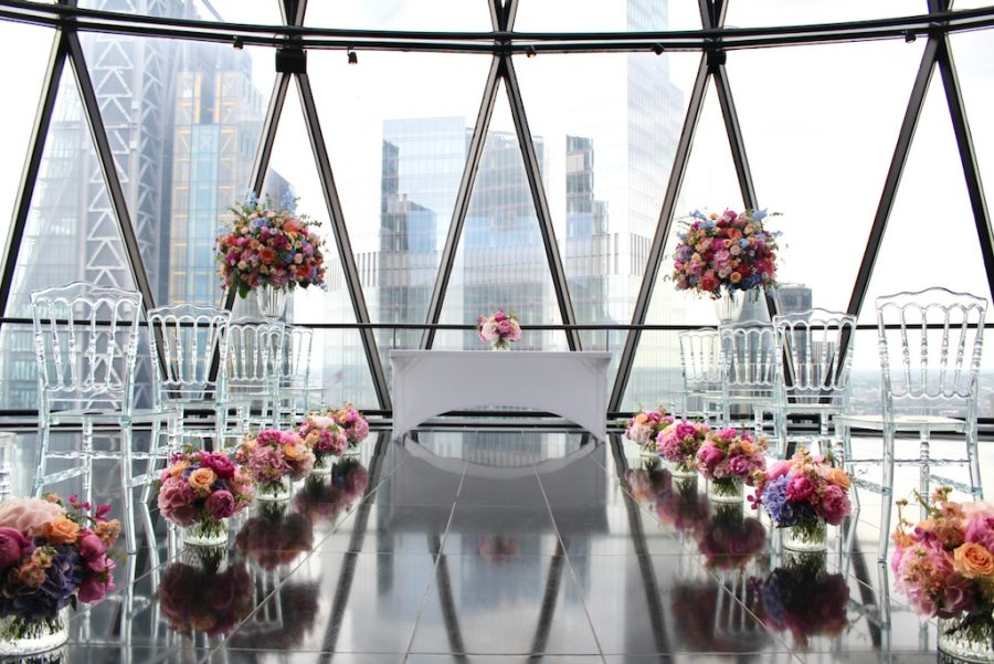 Wedding Ceremony Flowers at The Gherkin